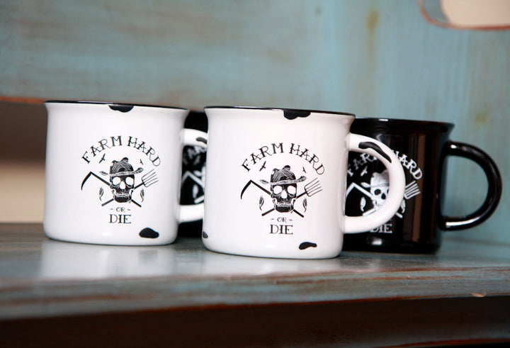 Farm Hard or Die Vintage Tinware Style Mug (Set o fTwo) - Farm Hard or Die