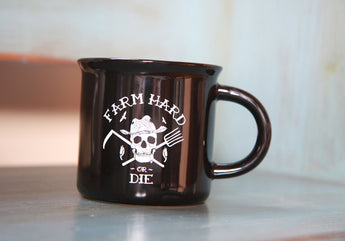 Farm Hard or Die Vintage Tinware Style Mug - Farm Hard or Die