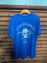 Royal Blue Unisex Tri Blend Short Sleeve T-Shirt - Farm Hard or Die