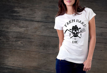 Women's Classic White Farm Hard or Die T-shirt - Farm Hard or Die