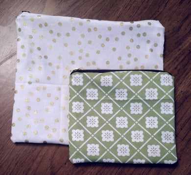 SET OF 2 COTTON GOLD GREEN ZUPPER POUCH