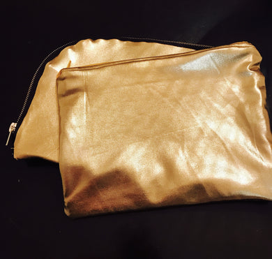 SET OF 2 GOLD MAKE-UP POUCHES