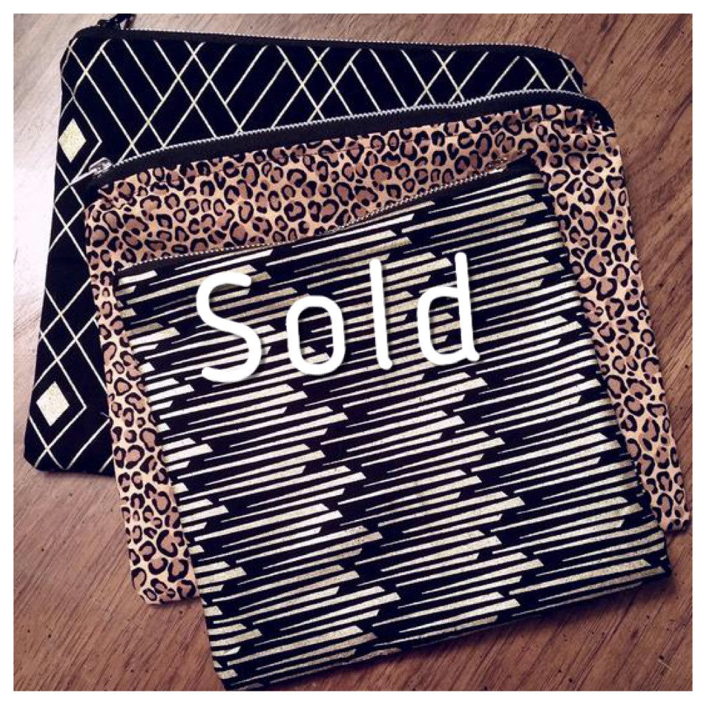SET OF 3 BLACK LEOPARD GOLD ZIPPER POUCH (SOLD)