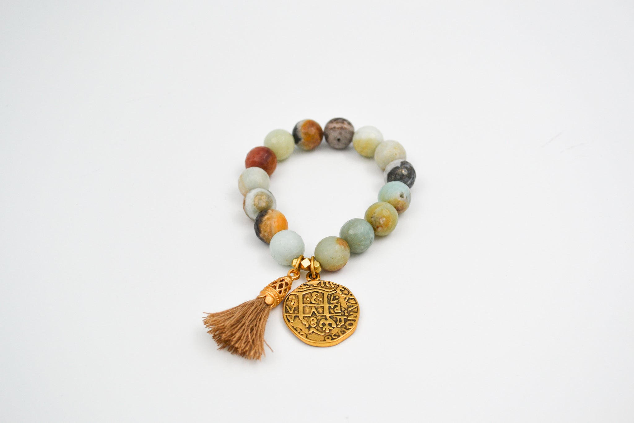 Amazonite & Gold Coin Stretch Bracelet