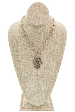 Grey Agate and Hamsa Hand Pendant Necklace