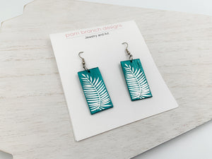 Teal Palm Earrings