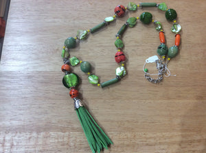 Long necklace green Tassel