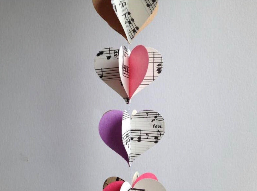 Colorful Notes Heart Garland