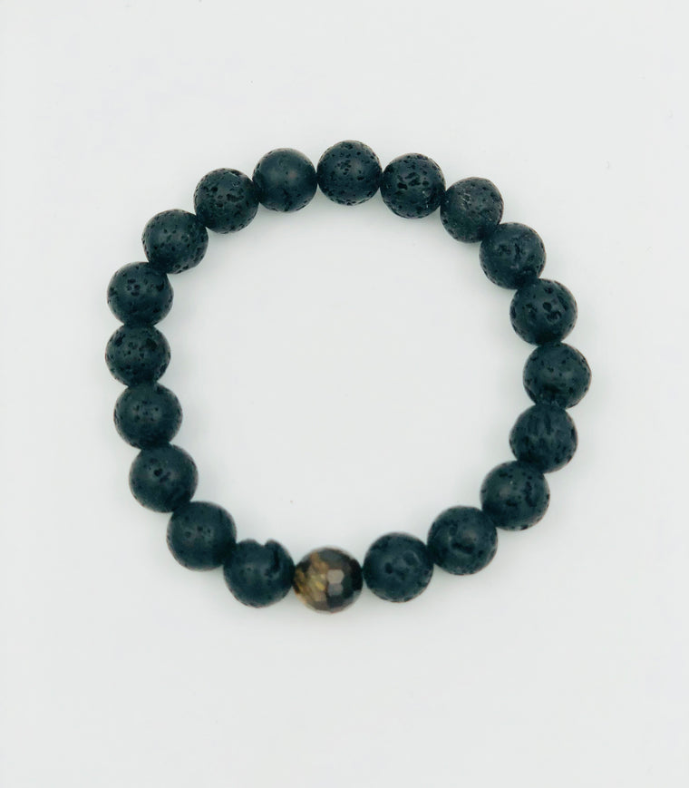Lava Rock and Tigers Eye Bracelet