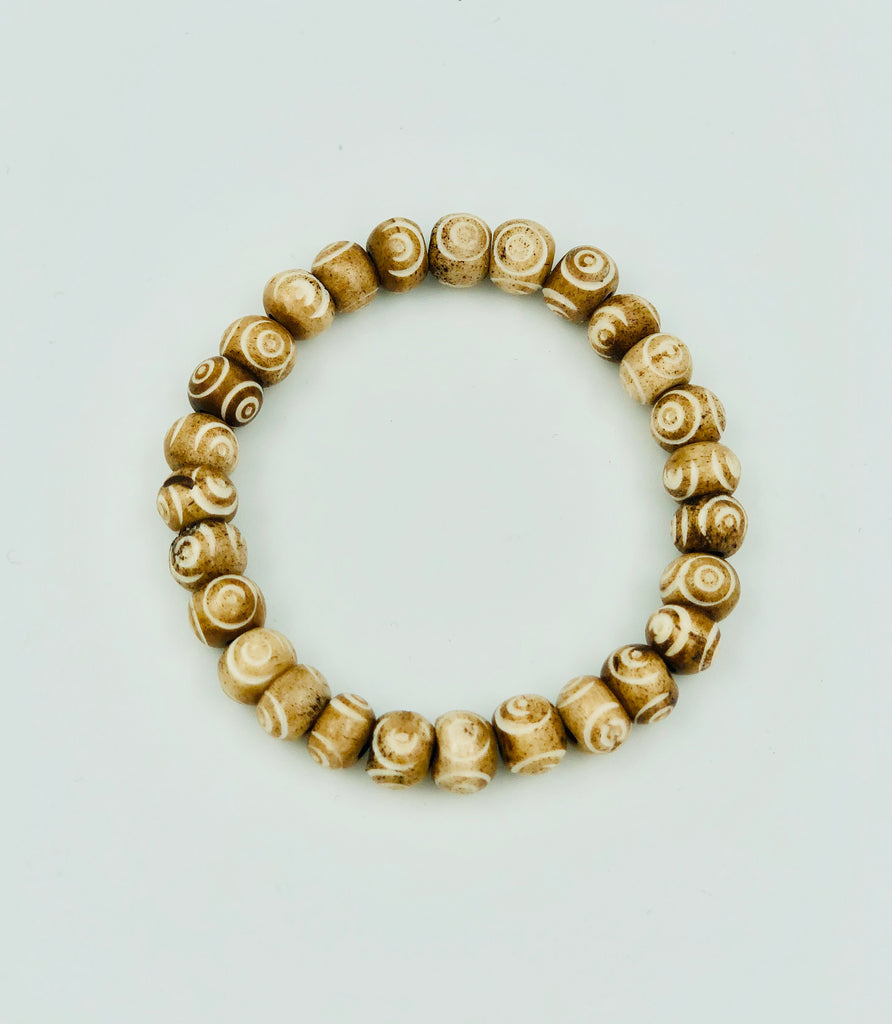 Tibetan Eye Wood Bead Bracelet