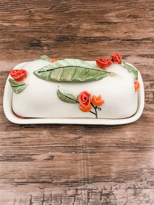 Ceramic Butter Dish with Red Flowers
