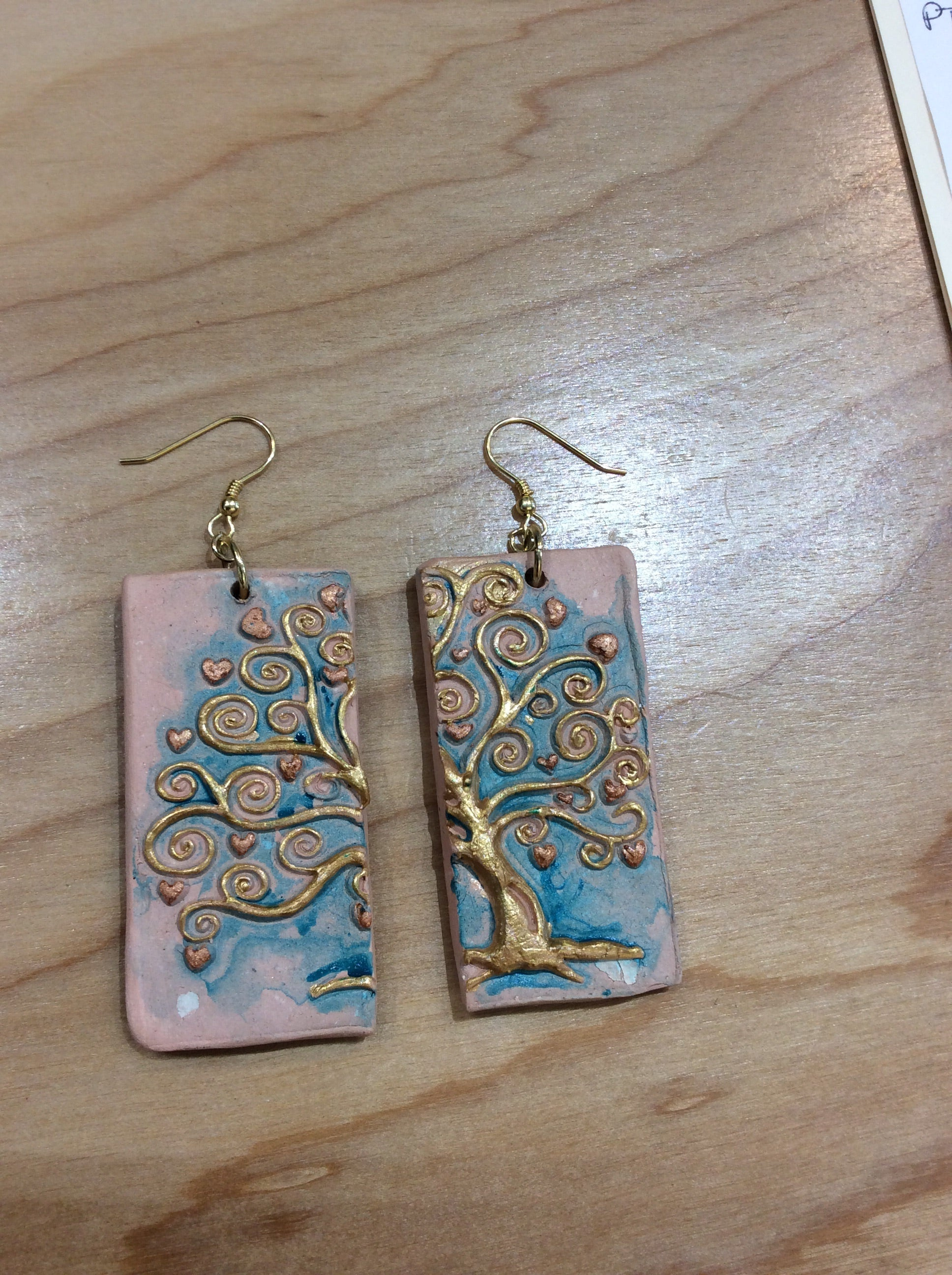 Tree of life clay earrings