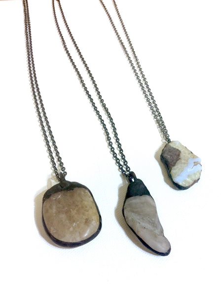 Soldered Stone On Gunmetal Chain Necklace