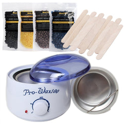 Combo Waxing Kit - Painless Hard Wax Beans (4 Packets) with Electric Wax Heater and Waxing Spatulas
