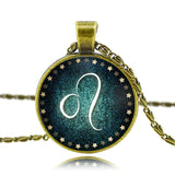 Zodiac glass pendant necklace with antique bronze chain - 12 Zodiac Constellations