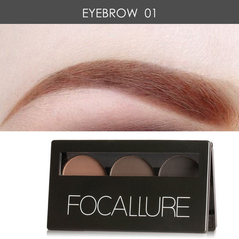 Focallure Eyebrow Powder 3 Colors Eyebrow Powder Palette - Smudge Proof With Mirror and Eyebrow Brushes Inside