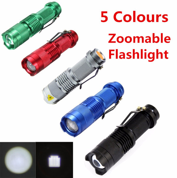Mini Flashlight ZOOMABLE 7W CREE Q5 2000lm ZOOM Tactical AA 14500 battery Flashlight Torch Lamp (Black Friday Cyber Monday Special Discount)