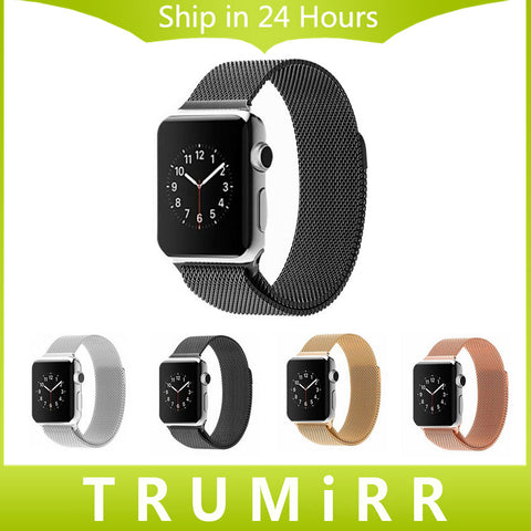Stainless Steel Watchband 22mm 24mm Milanese Loop Magnetic Band Bracelet Strap for 38mm 42mm iWatch Apple Watch Sport Edition (Black Friday Cyber Monday Discount)