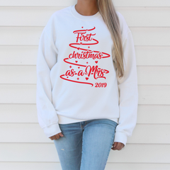 SALE - First Christmas as a Mrs 2019 white Sweatshirt
