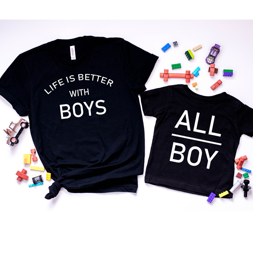 ALL BOY Design black T-Shirt Top baby, toddler and kids sizes!