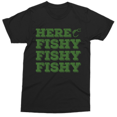 Here Fishy Fishy Fishy black t-shirt (kids, mens & ladies sizes available)