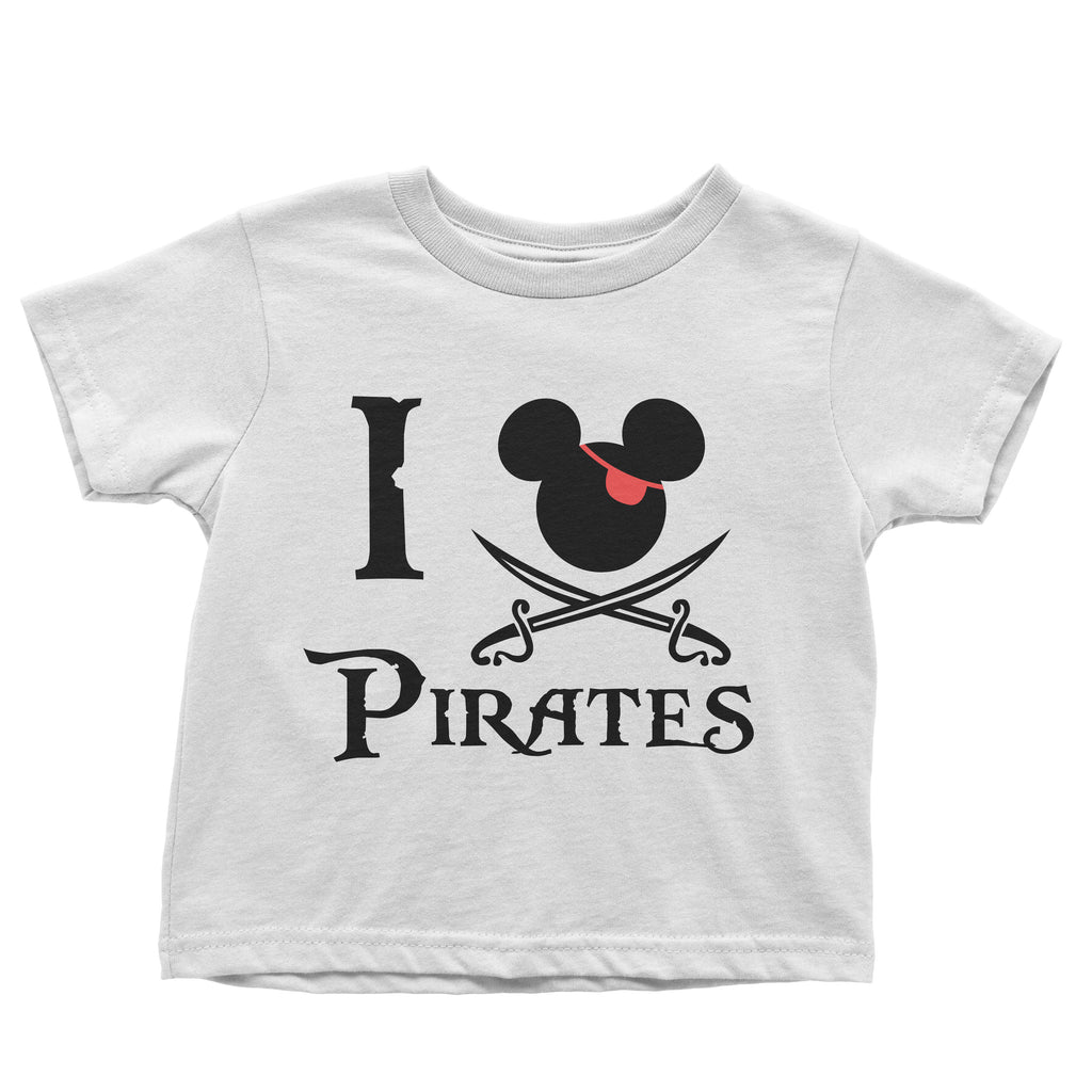 I Love Pirates design - t-shirts (kids, mens & ladies sizes available)