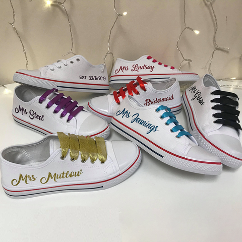 Personalised White Canvas Wedding Shoes - Matching Coloured Ribbon