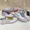 Image of Personalised White Canvas Wedding Shoes - Matching Coloured Ribbon