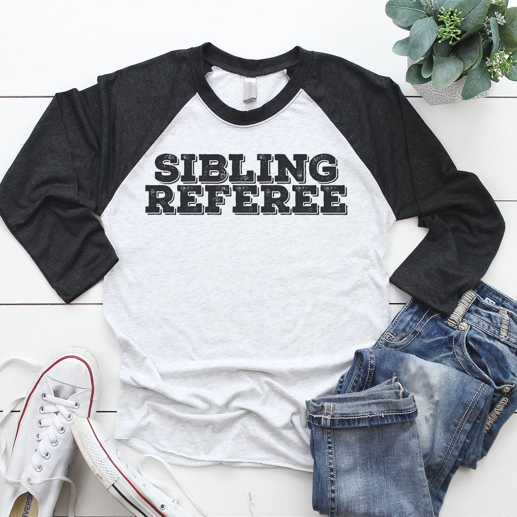 SIBLING REFEREE black & white contrast t-shirt