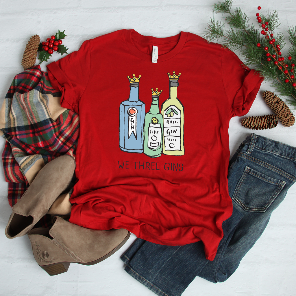 We Three Gins Red Christmas T-Shirt