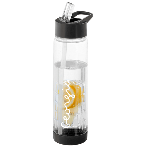 Personalised Fruit Infuser Water Bottle - Black/Clear