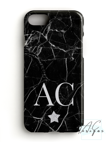 Black Marble Monogram Initials Phone Case with Glitter Star
