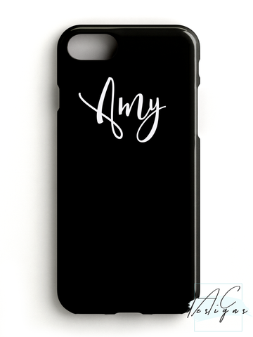 Personalised Black Script Name Phone Case