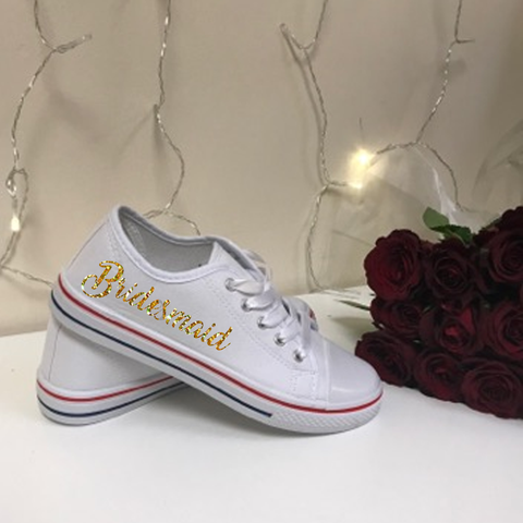 Personalised White Canvas Wedding Shoes - Wedding Party