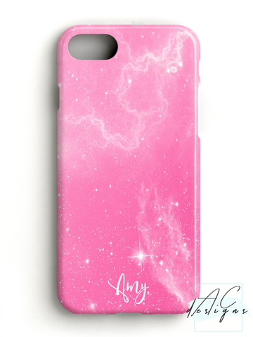 Personalised Pink Starry Script Name Phone Case