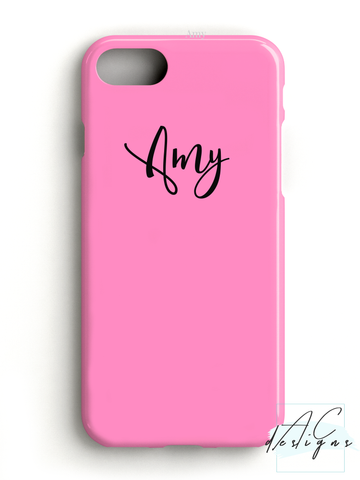 Bubblegum Pink Personalised Script Name Phone Case
