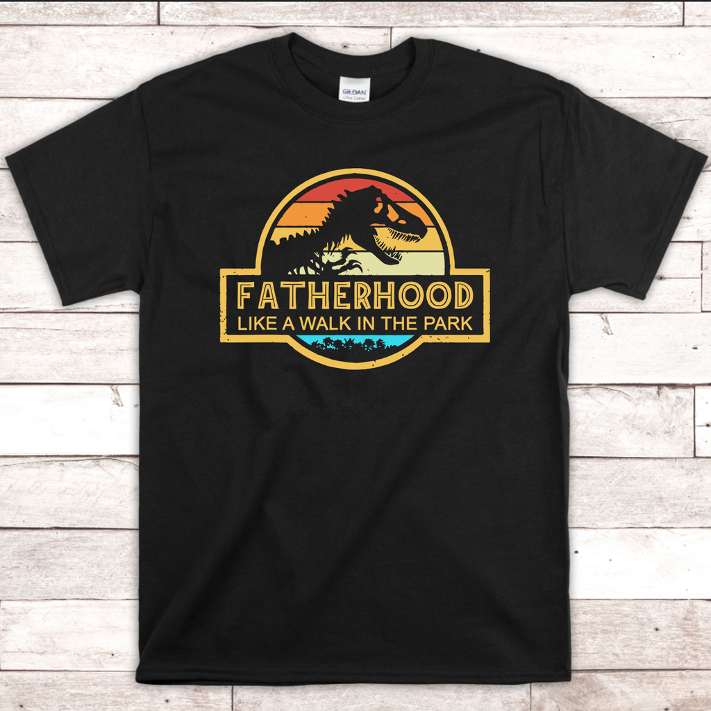 Fatherhood - Like a Walk in the Park vintage design Black T-Shirt