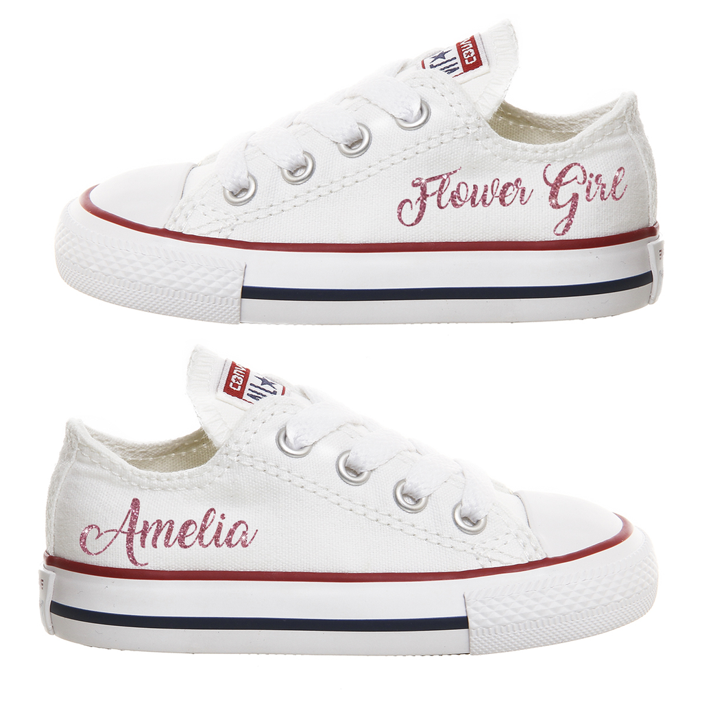 c1e944bdb5ed Personalised Infant White Converse Canvas Wedding Shoes - Flower ...