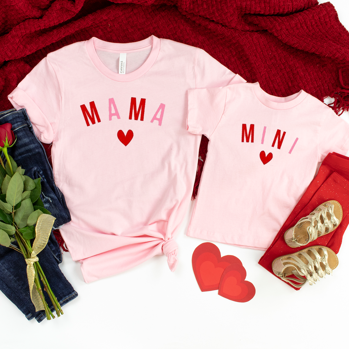 Mama Mama's Mini Twinning - Valentine's Heart Edition. Mum & Daughter(s) T-Shirt