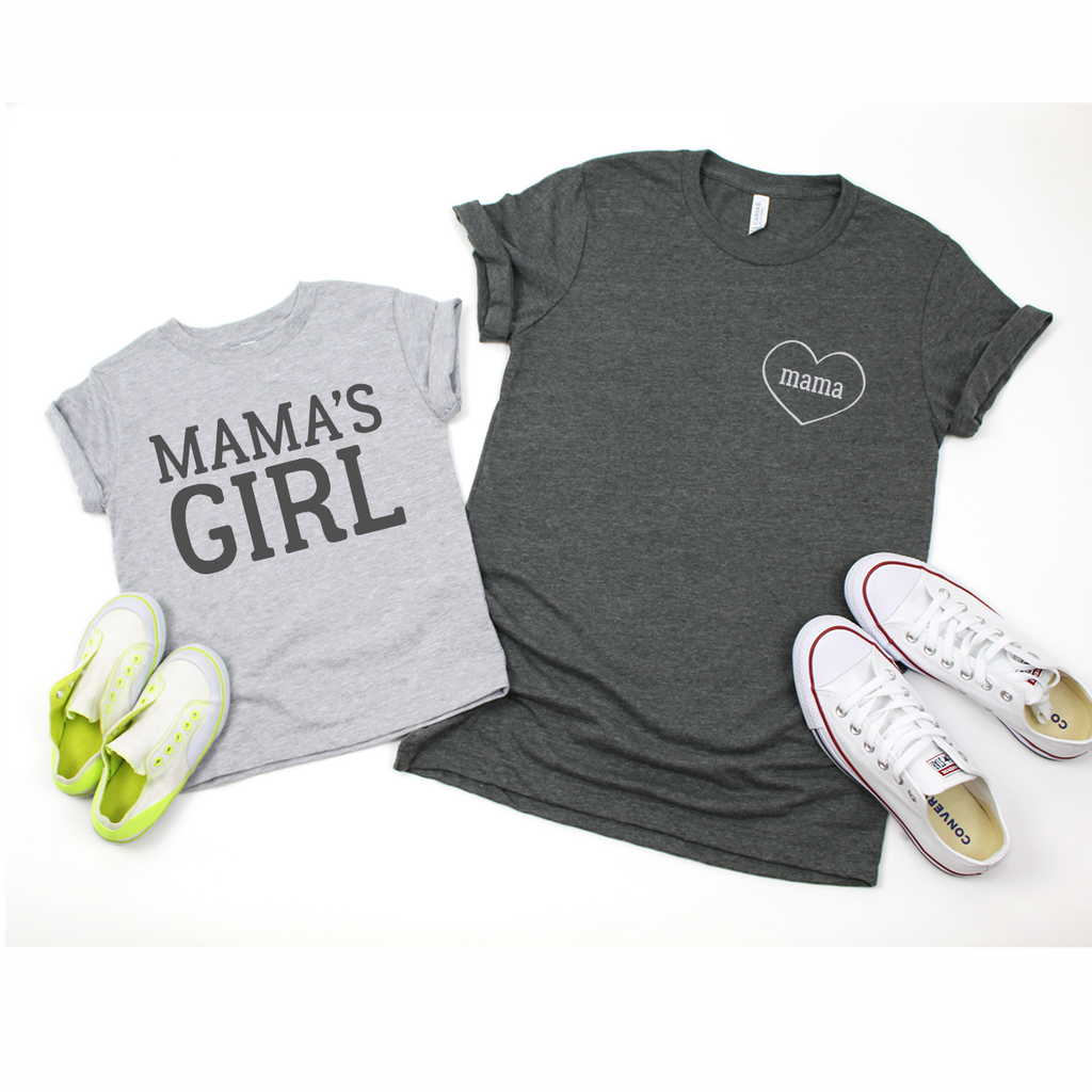 Mama Mama's Girl - Grey/Charcoal Twinning Set Mum & Daughter(s)