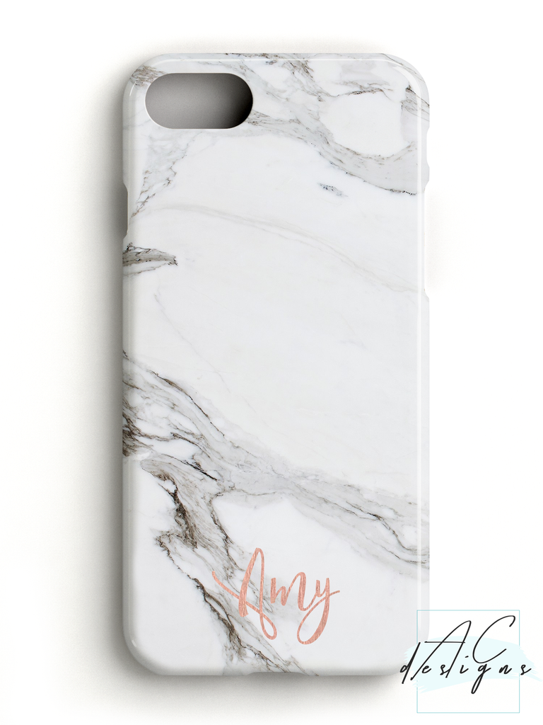 Personalised Rose Gold Name Marble Phone Case