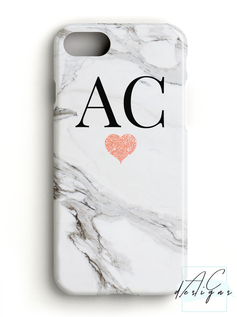 Grey/White Marble Monogram Initials Phone Case with Glitter Heart