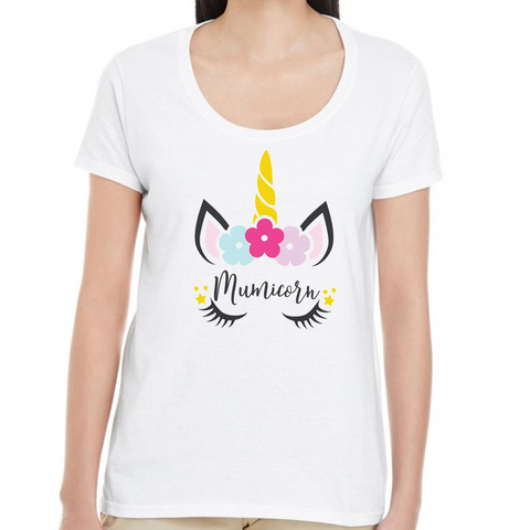 Mumicorn Unicorn Ladies scoop neck fitted white t-shirt - Personalised options!
