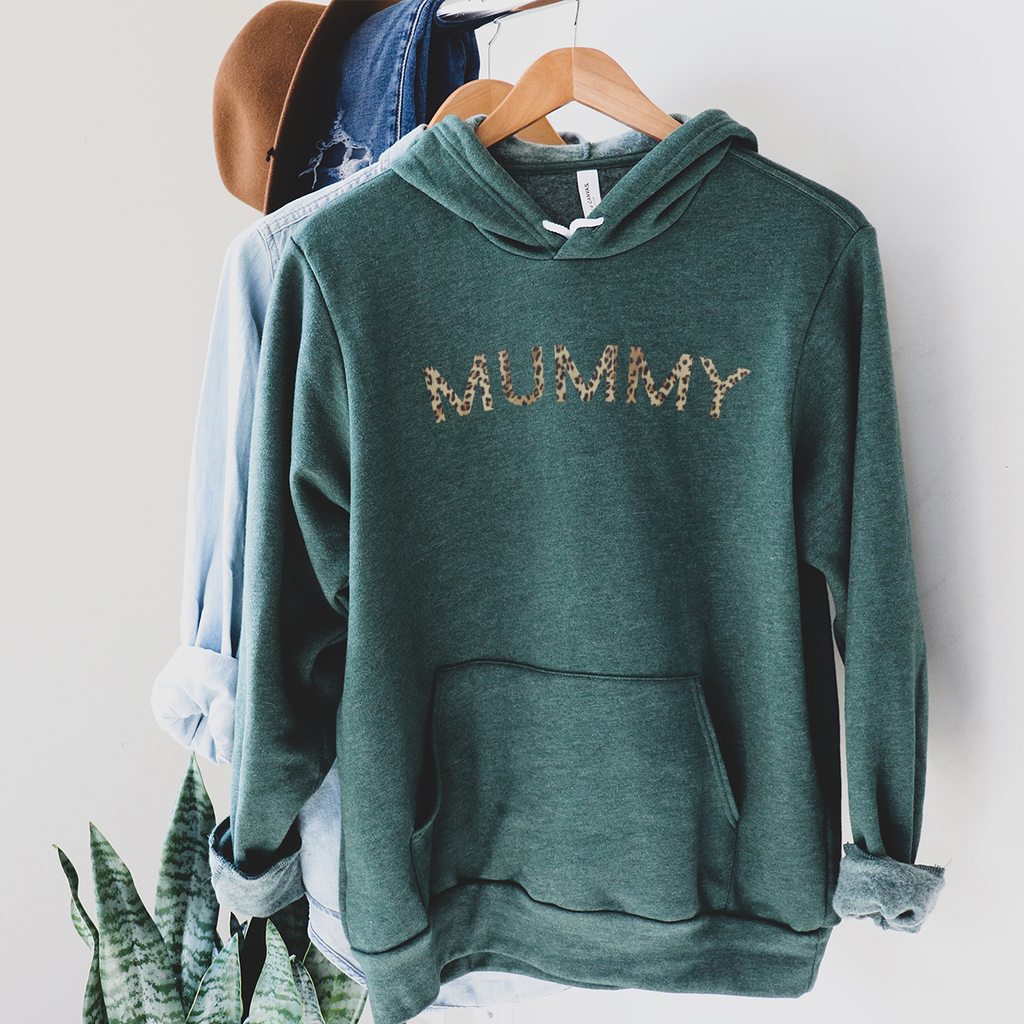 Mummy leopard print - Heather Dark Green Hoodie
