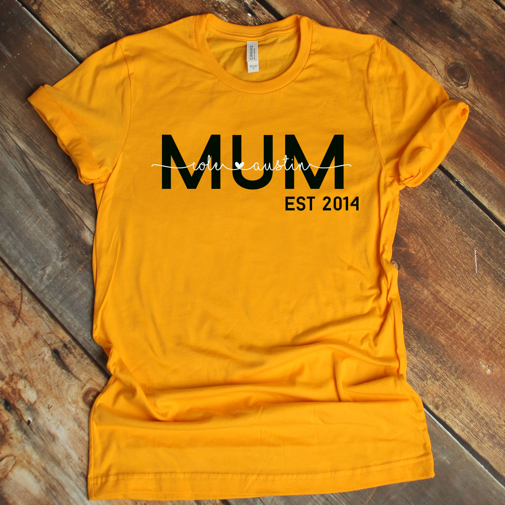Personalised Mum Est Date Mustard Yellow T Shirt A C Designs Ltd