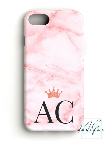 Marble Pink Monogram Initials Phone Case with Glitter Crown