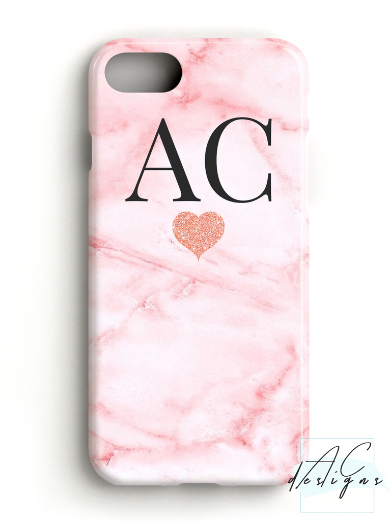 Pink Marble Monogram Initials Phone Case with Glitter Heart