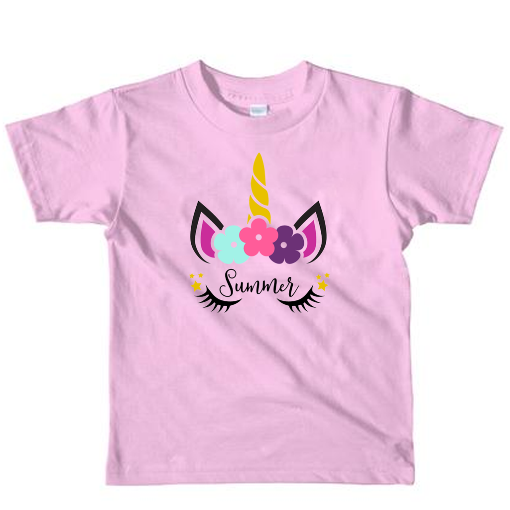 Personalised Unicorn Design Light Pink T-Shirt Top toddler and kids sizes