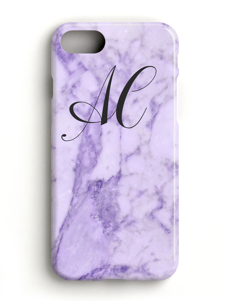 Monogram Initials Purple Marble Phone Case