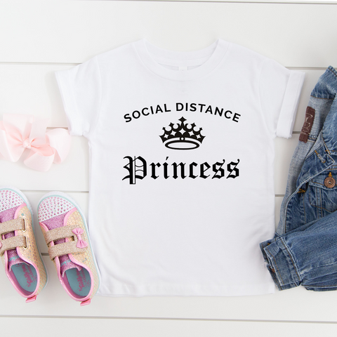 Social Distance Princess Kids White Casual T-Shirt -COVID-19 tee